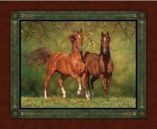 Horses Noble Stature Wild Wings Quilting Cotton Fabric Panel Wall Hanging