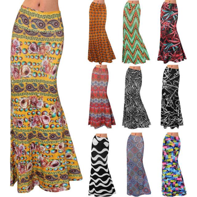 Women Tie Dye Summer Elastic High Waist Skirt Female Skirts Long Maxi Boho Dress