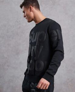 New Mens Superdry Combat Crew Neck Sweatshirt Black