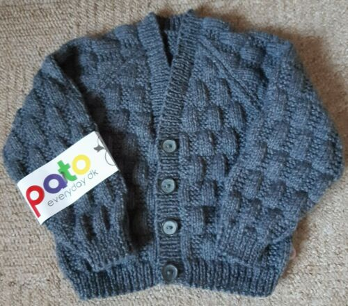GREY OR DARK RED TO FIT FROM 6 MONTHS APPROX HAND KNITTED BABY BOYS CARDIGAN