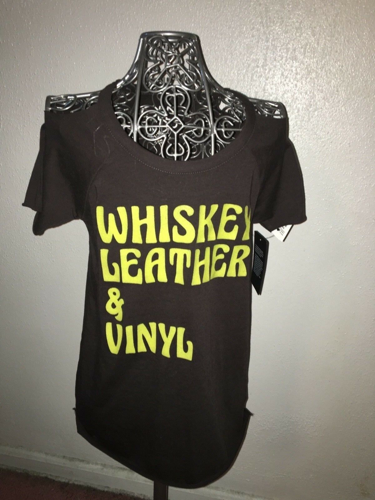 NWT Chaser Whiskey Leather & Vinyl Cold Shoulder Tshirt Sz S RP