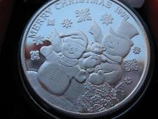 1-OZ.1993 CHRISTMAS SNOWMAN AND TEDDY BEAR PEACE ON EARTH .999  SILVER COIN+GOLD