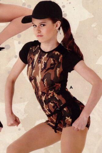 NWOT Shorty Unitard Camo Military Dance Costume Army Boycut Leotard Adult//Child