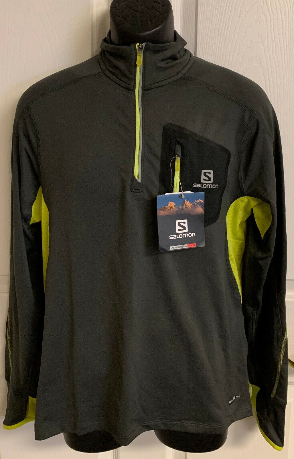 New Salomon  TRAIL RUNNER WARM LONG SLEEVE  Men's Medium Galet Grey  85