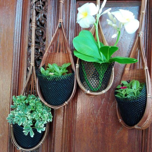Orchid Basket Hanger Bamboo Flower Pot Small Plant Holder Natural Garden