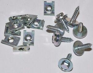 Kotfluegel-Befestigungssatz-10x-Blechmuttern-und-10x-Schrauben-aus-Stahl-verzinkt