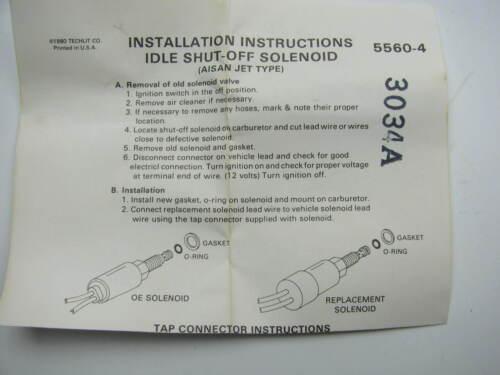 Fuel Shutoff Solenoid 1975-79 Corolla Carburetor Idle Stop Solenoid
