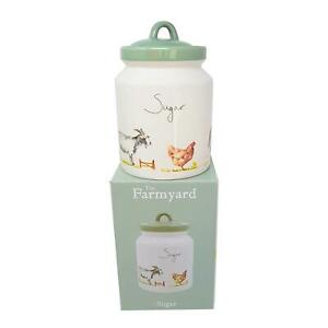 BOXED-JENNIFER-ROSE-FARM-SHEEP-GOAT-HEN-HORSE-GOOSE-SUGAR-JAR-CONTAINER