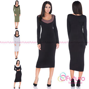 22781bbc24db Image is loading Ladies-Evening-Party-Bodycon-Long-Sleeve-Scoop-Neck-