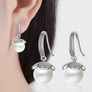 Ladies-Sweet-Elegant-Solid-925-Sterling-Silver-Zircon-Pearl-Dangle-Earrings