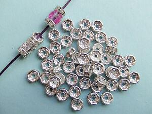 15pz distanziali perline ottone Rondelle con strass colore argento 6x3mm