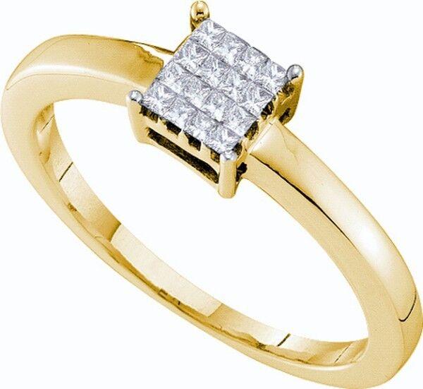 Ladies 14k Yellow gold Invisible Set Princess Daimond Enagagement Wedding Ring