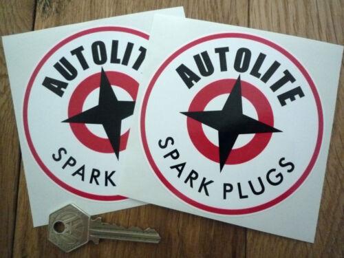 """AUTOLITE 4/"""" Pair ROUND STICKERS Spark Plugs COBRA GT40 Thunderbird Ford Mustang"""