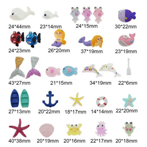30pcs Resin Octopus Whale Fish Flatback Cab DIY Embellishment Miniature Ornament