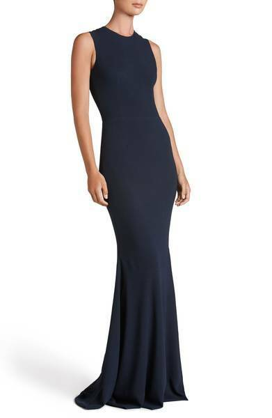DRESS THE POPULATION 'EVE' CREPE MERMAID MIDNIGHT blueE GOWN DRESS sz M