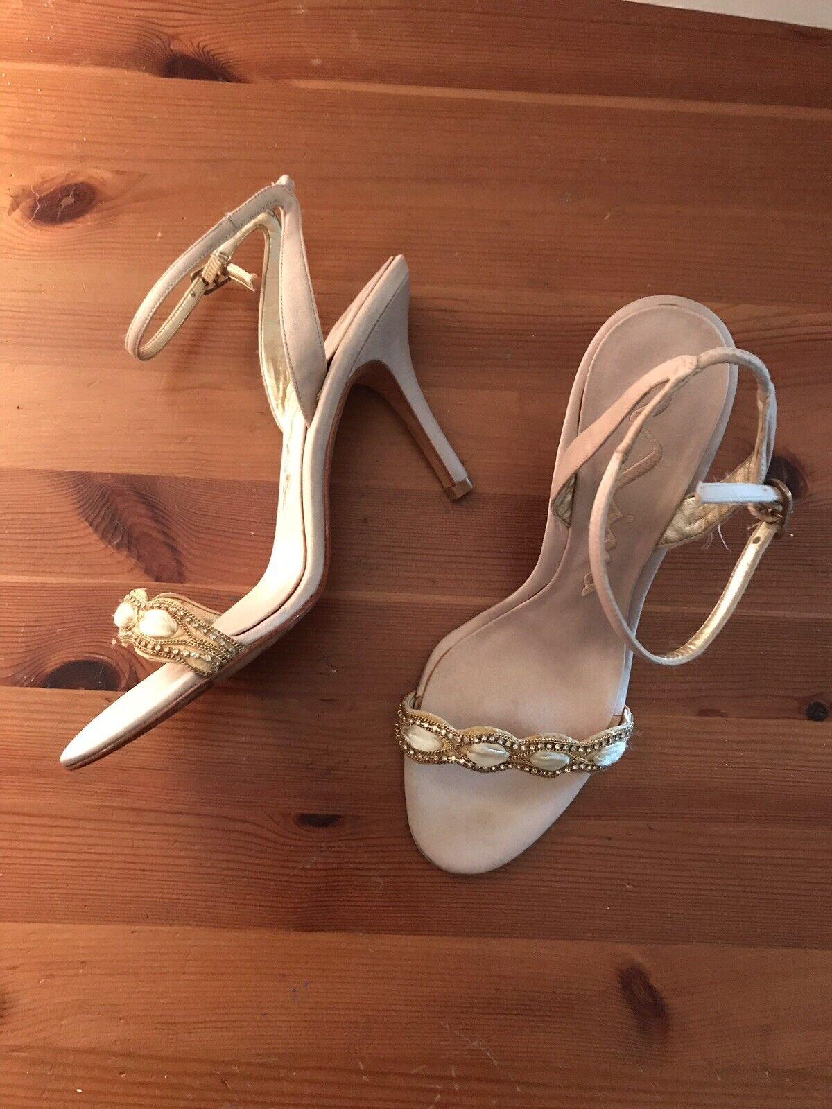 Nina Strappy Sandals Dressy Rhinestone Champagne Fabric 7 1 2 M Leather Soles