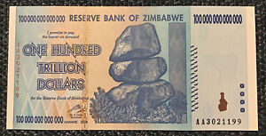Zimbabwe Banknote, 100 Trillion Dollars. Dated 2008. P91. Uncirculated.