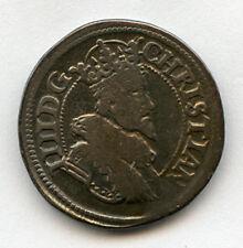 DENMARK 1624 KING CHRISTIAN IV 1/2 KRONE SCARCE COIN TONED AVF.