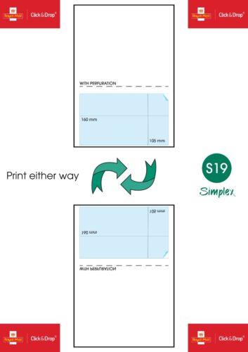 S19 Royal Mail Click /& Drop étiquettes-A4 étiquettes intégrées Style Up 160 x 105 mm