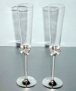 14d9448fca3 Image is loading Kate-Spade-GRACE-AVENUE-Champagne-Flute-Pair-Silverplate-