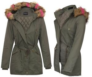 Outdoor Fur Hooded Brun Jacket 16 Lang Khaki Kvinder Uk8 Winter Frakke Parka tCxS10qx4w
