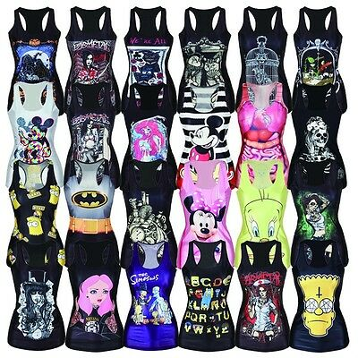 Lady's Cartoon Digital Printing Tight Vests Mini Short Stretch Tops Skirts Dress