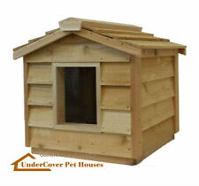 INSULATED CEDAR CAT HOUSE SHELTER,KENNEL BED,CRATE,