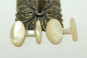 Vintage-Carved-Mother-of-Pearl-Men-039-s-Cuff-Links-J