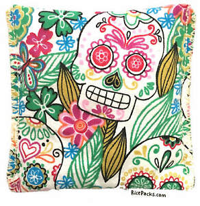 Sugar-Skull-Rice-Pack-Hot-Cold-You-Pick-A-Scent-Microwave-Heating-Pad-Reusable