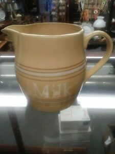 Vintage-Over-And-Back-Yellow-Ware-Milk-Pitcher-Yellow-Brown-amp-White-Stripe