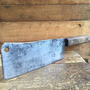 Vintage-SPEAR-amp-JACKSON-CLEAVER-CARBON-STEEL-Knife-Chopper-Old-Antique-Tool-293