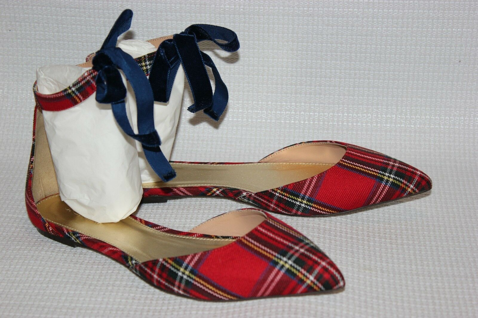 J.CREW PLAID ANKLE STRAP D'ORDAY FLAT SIZE 7.5 RED BLACK H1841
