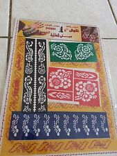 2 Sheets of self Adhesive Decal Stencils Henna temporary tattoo free ship