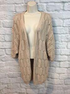 STORIA-Women-039-s-Tan-Crochet-Knit-Open-Front-Dolman-Sleeve-Cardigan-Sweater-XS-S