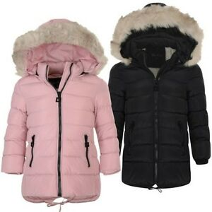 Girls Long Down Quilted Winter Jacket Kids Detach Hood Zip Parka ...