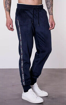 Tommy Hilfiger Men/'s Cuffed Lounge Joggers Side Logo Taping In White BNWT