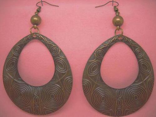 C1014 antique-Copper Tone Big Hollow Water Drop Boucles D/'Oreilles Chaud Vendre Bijoux