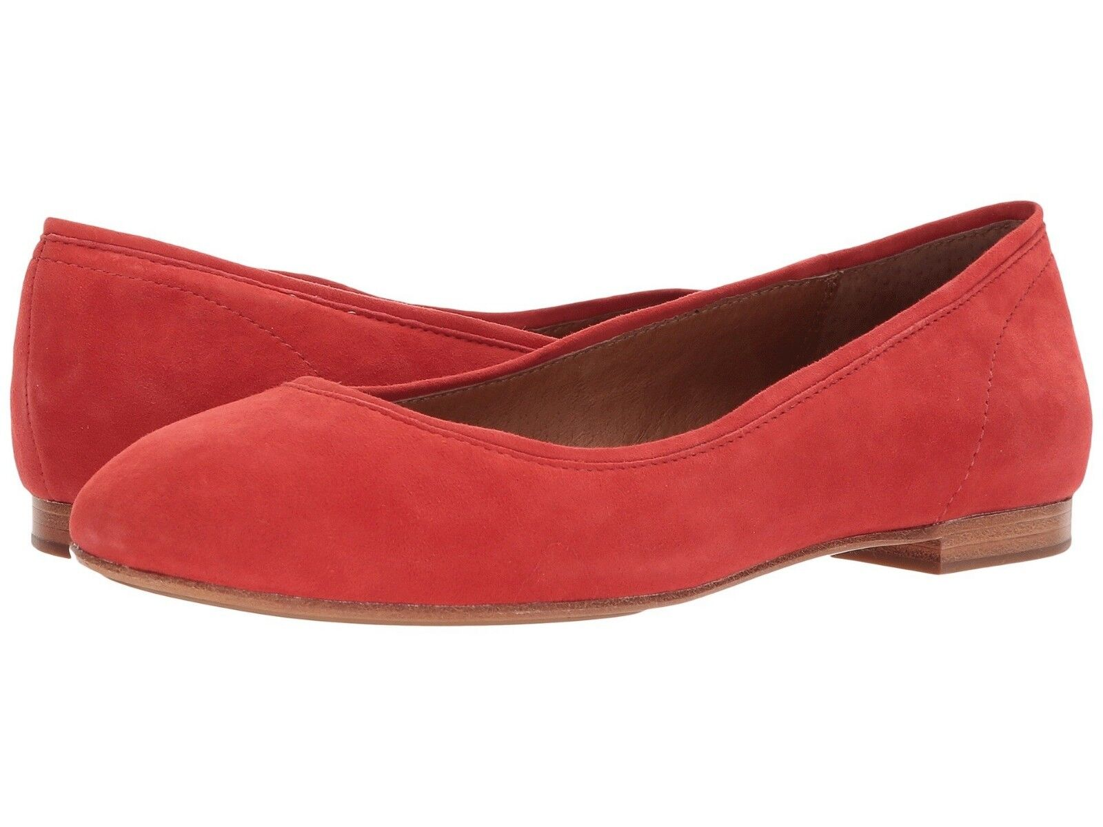 198 NEW FRYE Sz6US GLORIA LEATHER BALLET FLAT CORAL SUEDE