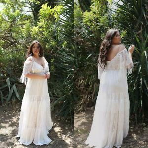 Details about Plus Size Beach Wedding Dresses Off The Shoulder Bohemian  Bridal Gowns A Line
