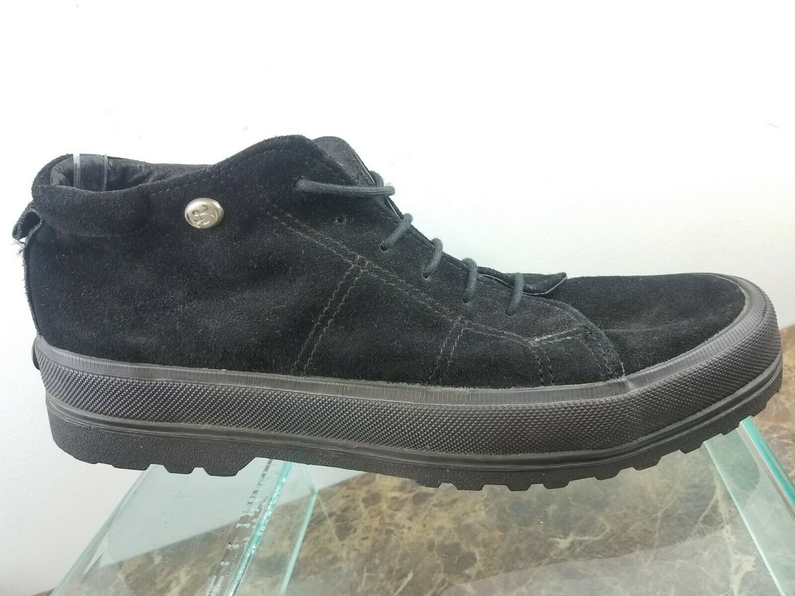 Superga Black Suede Leather Platform Fashion Lace Up Casual shoes Womens Sz 10.5