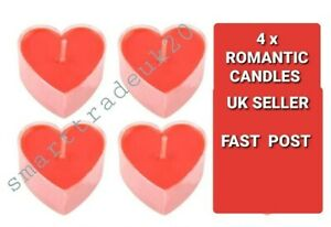 Valentines Day Candles 4 Tea lights Red Love Heart Shaped Romantic Dinner Decor