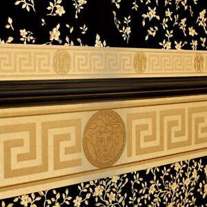 Gold Versace Wallpaper Border Luxury Greek Key Satin Modern