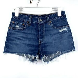 Levi's 501 Original Raw Hem Button Fly Cut Off Distressed Blue Jean Shorts 26