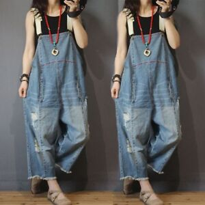 Plus Size Womens Denim Rompers Overalls Pants Loose Jumpsuits Wide