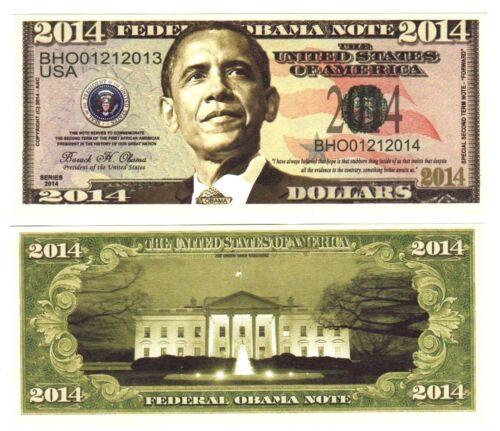 I 1-BARACK OBAMA 2014 PRESIDENTIAL DOLLAR BILL with clear protector sleeve