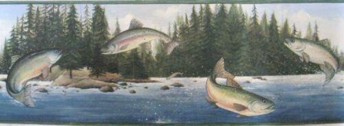 BEAUTIFUL RAINBOW TROUT FISH Grn Wallpaper bordeR Wall