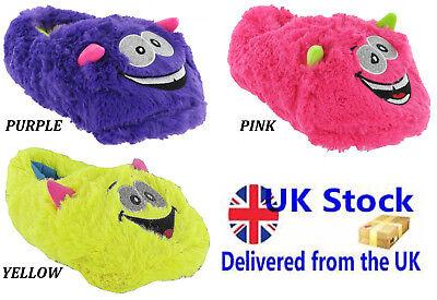 Damas Niñas Novedad Acogedor Pantuflas Monstruo Rosa Violeta Amarillo Nuevo tamaños Reino Unido 2-7