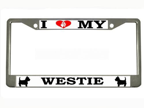 "/""I LOVE MY WESTIE/"" Metal Auto License Plate Frame Car Tag Holder"