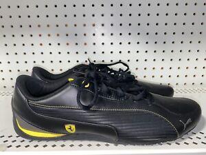 Puma-Ferrari-Drift-Cat-5-SF-NM-Mens-Leather-Athletic-Shoes-Size-12-Black-Yellow