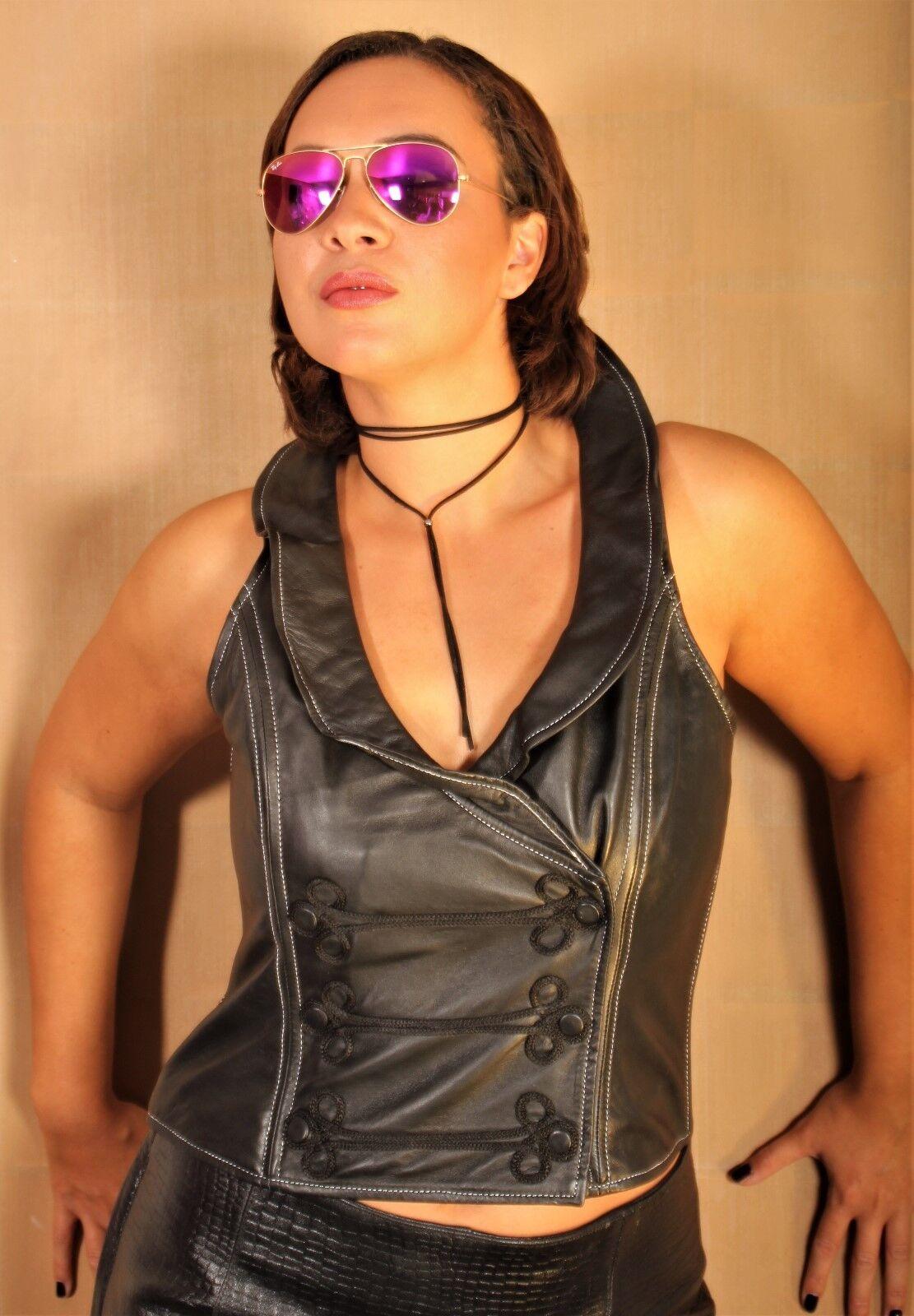 Ledertop   Lederweste aus ECHTLEDER mit Design Kragen für Damen